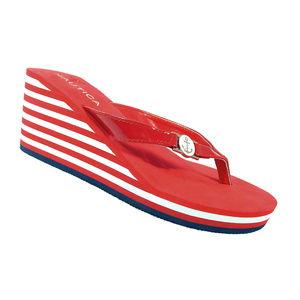 NAUTICA Landfall Electric Red Striped Wedge Sandal